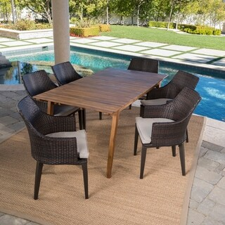 Hemlock Outdoor 7-Piece Rectangle Wicker Wood Dining Set with Cushions by Christopher Knight Home