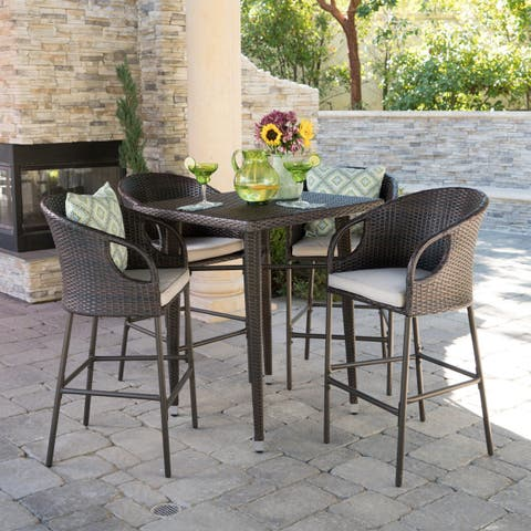 Dominica Outdoor 5-piece Wicker 41-inch Square Bar Set with Cushions by Christopher Knight Home