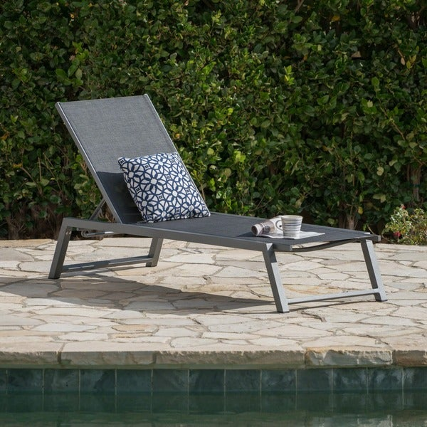 Myers Outdoor Aluminum Mesh Chaise Lounge by Christopher Knight Home