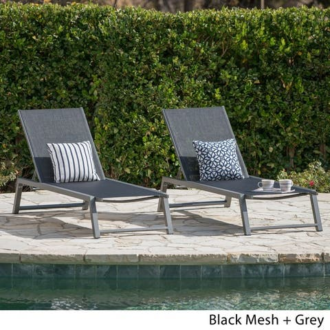 Myers Outdoor Aluminum Mesh Chaise Lounge Set Of 2 By Christopher Knight Home