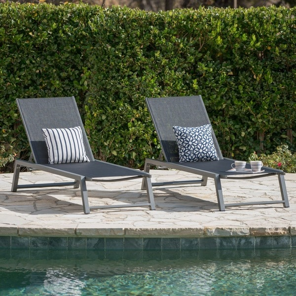 Myers Outdoor Aluminum Mesh Chaise Lounge (Set of 2) by Christopher Knight  Home - Shop Myers Outdoor Aluminum Mesh Chaise Lounge (Set Of 2) By