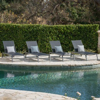 Myers Outdoor Aluminum Mesh Chaise Lounge (Set of 4) by Christopher Knight Home