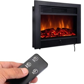 "Electric Embedde Black 28.5"" Glass Fireplace"