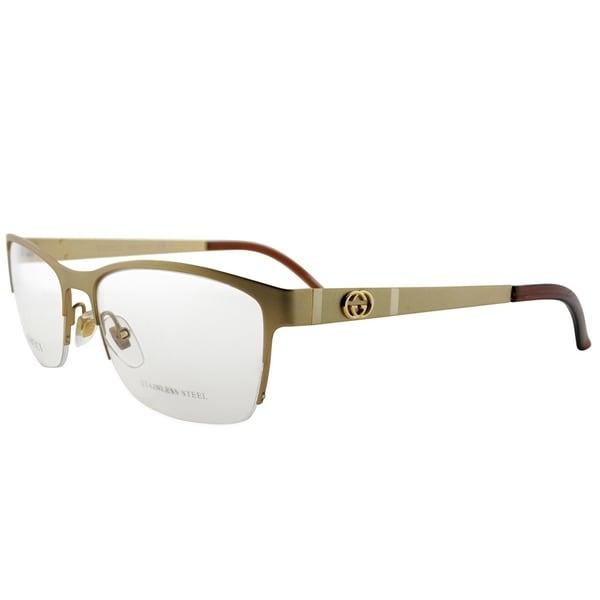 Shop Gucci Semi Rimless Gg 4236 82o Unisex Semi Matte Gold Frame
