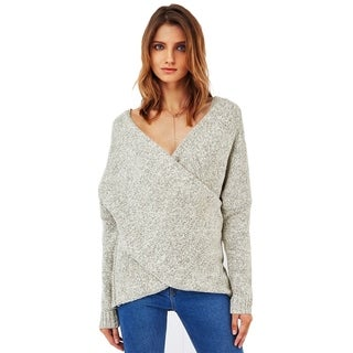 Cupshe Women's Solid Front Criss Cross Plunging Sweater Long Sleeve Pullover Sweater, Grey