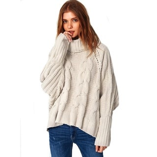 Cupshe Women's Solid Color High Low Twist Knitting Casual Sweater, Beige (Option: L)