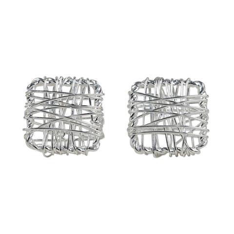 Handmade Sterling Silver Crisscross Square Earrings (Thailand)