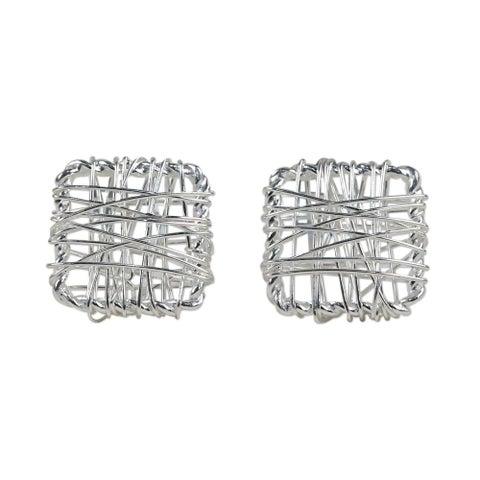 Handmade Sterling Silver 'Crisscross Square' Earrings (Thailand)