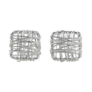 Handmade Sterling Silver 'Crisscross Square' Earrings (Thailand)