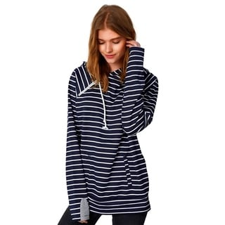 Cupshe Women's Stripe Printing Casual Zip Coat Hooded Sweatshirt