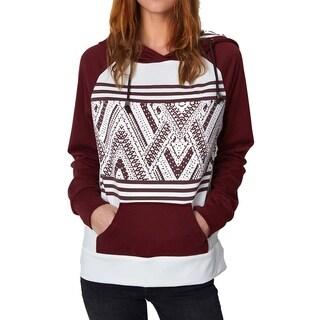 Cupshe Women's Wine Geometric Printing Raglan Long Sleeve Hooded Sweatshirt
