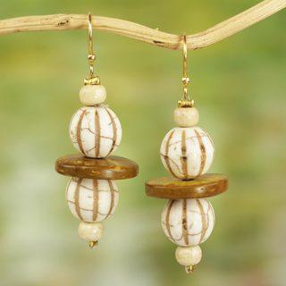 Handmade Sese Wood Recycled Glass 'Village Breeze' Earrings (Ghana)
