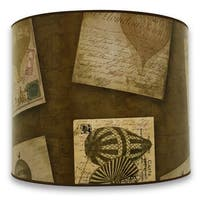 Royal Designs Modern Trendy Decorative Handmade Lamp Shade - Vintage Post Card and Old World Map Design - 10 x 10 x 8