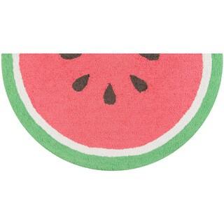 """Novogratz by Momeni Watermelon Polyester Kitchen Mat 1'6"""" X 3' Half Moon"""