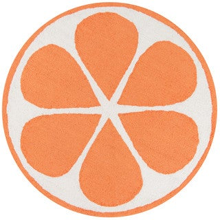 Novogratz by Momeni Orange Polyester Kitchen Mat 3' X 3' Round