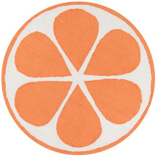 Novogratz by Momeni Orange Polyester Kitchen Mat 3' X 3' Round