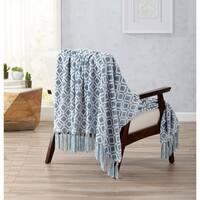 Liliana Collection Ultra Velvet Plush Throw Blanket with Decorative Fringe
