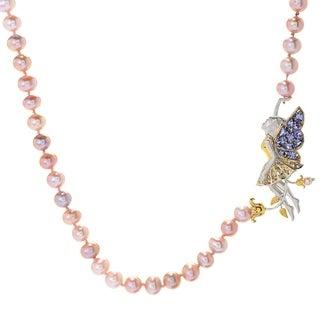 Michael Valitutti Palladium Silver Freshwater Cultured Pearl & Tanzanite Fairy Necklace