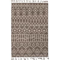 eCarpetGallery 20011 Tangier Brown/Grey Hand-knotted Wool Area Rug - 5'0 x 8'0
