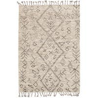 eCarpetGallery Tangier Grey/Ivory Wool Hand-knotted Area Rug (5'0 x 8'0)