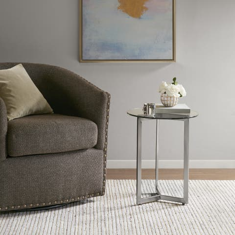 Madison Park Alki Silver Round End Table