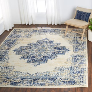 Nourison Grafix Distressed White/Blue Medallion Rug - 7'10 x 9'10