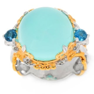 Michael Valitutti Palladium Silver Aqua Color Chalcedony & London Blue Topaz Scrollwork Ring