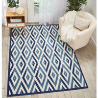 Nourison Grafix White/Blue Area Rug - 7'10 x 9'10