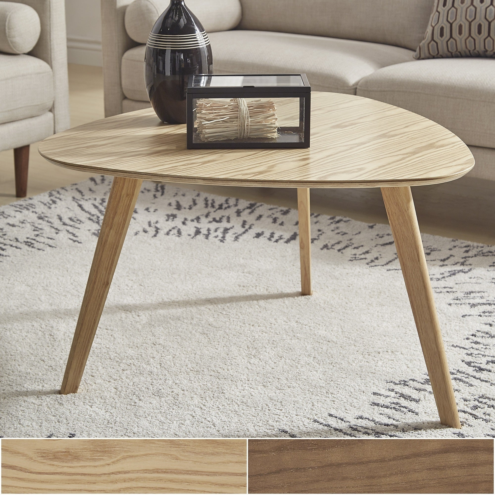 Shop Adler Mid-Century Triangular Wood Coffee Table By