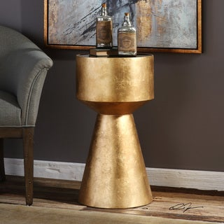 Uttermost Veira Goldtone Accent Table with Black Glass Top