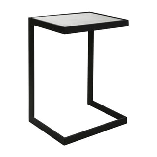 Uttermost Windell Black Iron on Glass Cantilever Side Table