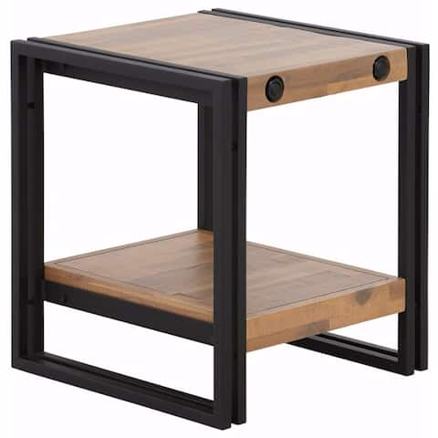 Carbon Loft Reiling Combined Acacia Wood and Metal Side Table