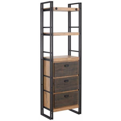 Carbon Loft Reiling Industrial Acacia Wood and Metal 3-drawer Bookcase
