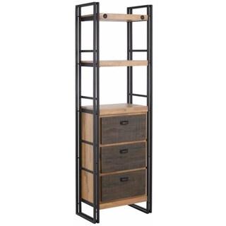 Katashi Industrial Acacia Wood and Metal 3-Drawer Bookcase