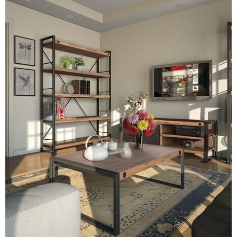 Scandinavian Living Katashi Natural Acacia Wood and Metal Wide Bookcase