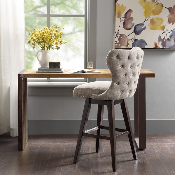 Madison Park Irvine High Wingback Button Tufted Upholstered 32-Inch Swivel Bar Stool with Nailhead Accent 2-Color Option