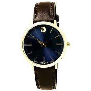 Movado Goldtone Stainless Steel/ Leather Ultra-slim Watch