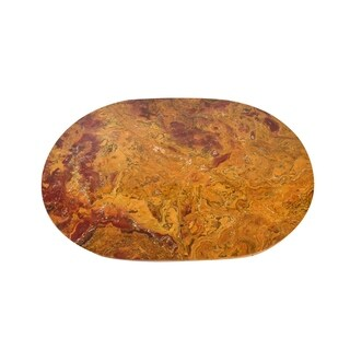 "Polished Marble Table Place Mat ""Kaizer"", Round Shaped with Amber finish"