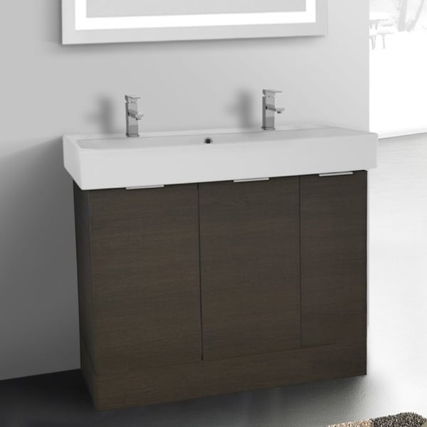 ARCOM O4T04 Free Standing 40 Inch Grey Oak Vanity Cabinet With Fitted Sink