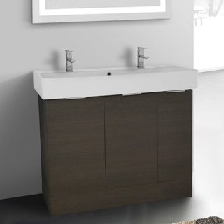 Arcom O4T04 Grey Oak 40-inch Free Standing Vanity Cabinet with Fitted White Ceramic Sink
