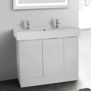 Arcom O4T02 Free-standing Larch White Wood 40-Inch Vanity Cabinet with Fitted Ceramic Sink