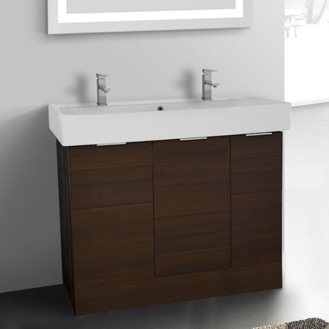 ARCOM O4T01 Free Standing 40 Inch Larch Brown Vanity Cabinet With Fitted Sink