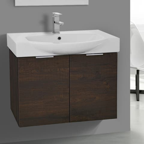 ARCOM KAL07 Wall Mounted 28 Inch Sherwood Burn Vanity Cabinet With Fitted Sink - sherwood burn