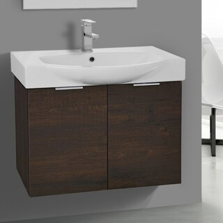 Arcom Sherwood Burn Wood/Ceramic 28-inch Wall-mounted Vanity Cabinet and Fitted Sink