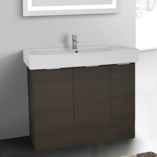 Arcom O4O04 Grey Oak 40-inch Free-standing Vanity Cabinet with Fitted Sink