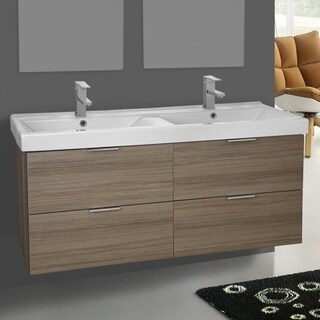 Arcom White Ceramic/Wooden Wall-mounted 47-inch Larch Canapa Vanity Cabinet With Fitted Sink