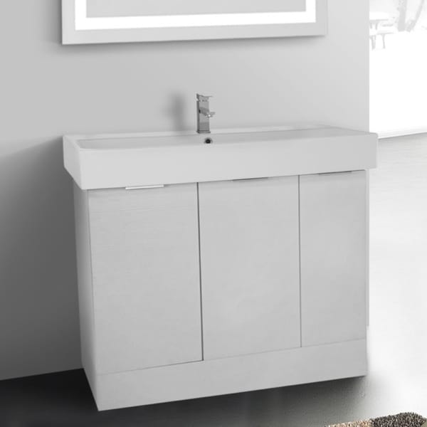 Shop ARCOM O4O02 Free Standing 40 Inch Larch White Vanity Cabinet With Fitted Sink