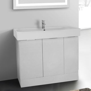 Arcom O4O02 Larch White Wood Free-standing 40-Inch Vanity Cabinet with Fitted Ceramic Sink