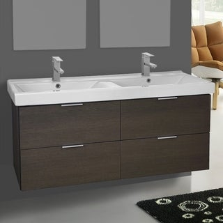 Arcom DF03 Grey Oak 47-inch Wall-mounted Vanity Cabinet with Fitted Sink