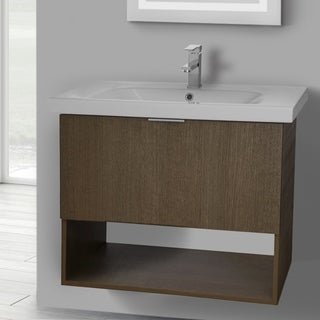 ARCOM OP02 Wall Mounted 32 Inch Ecru Tranche Oak Vanity Cabinet With Fitted Sink